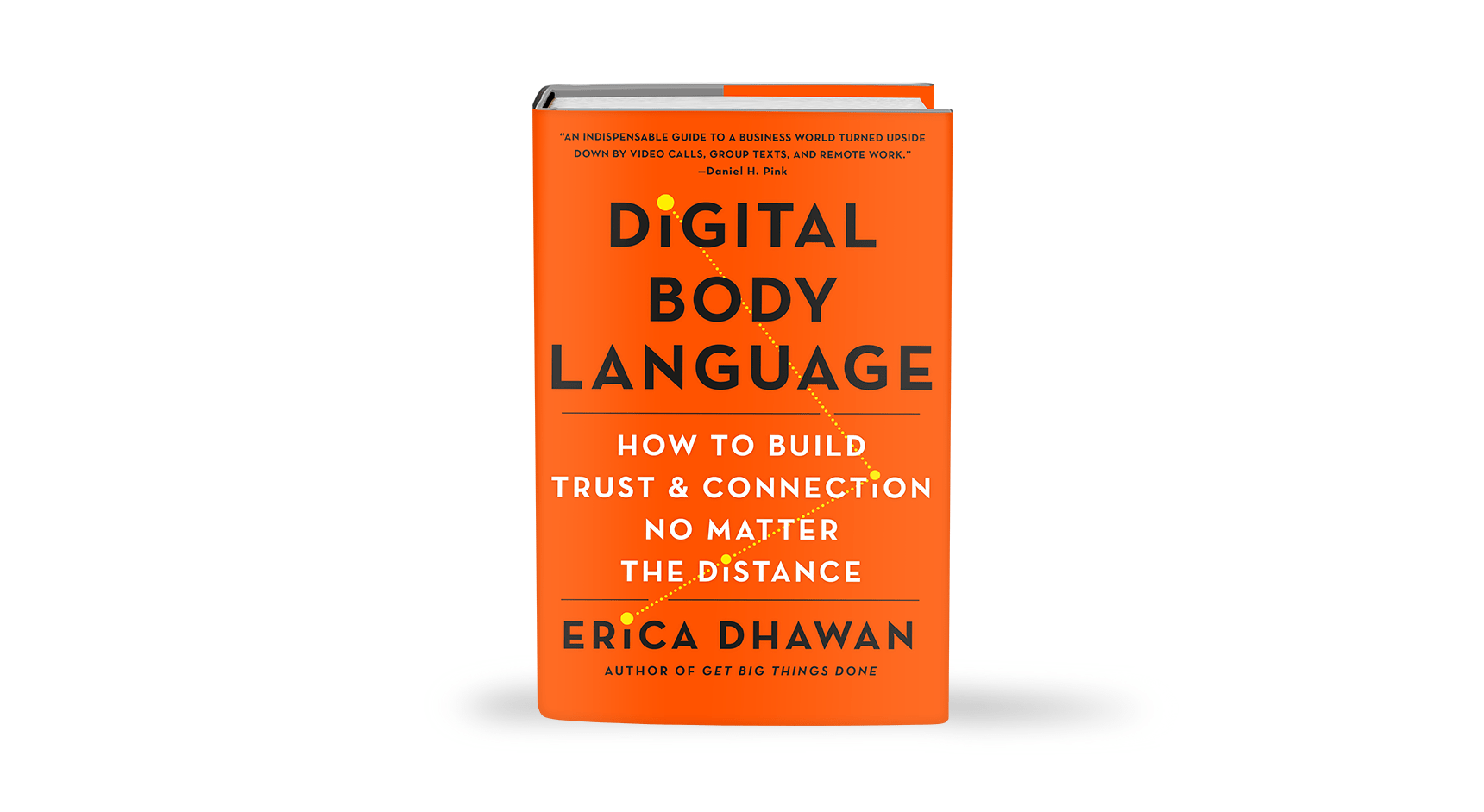 Vibrant orange cover of a book, Digital Body Language, offering tips on conducting remote interviews